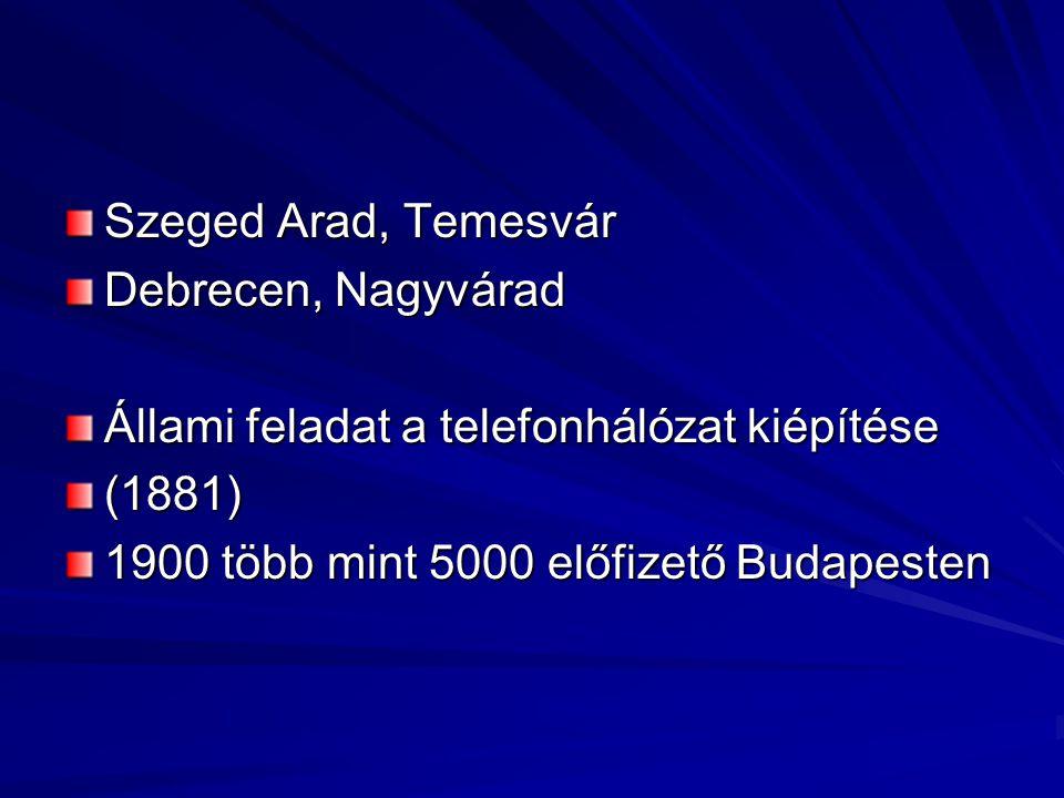 Szeged Arad, Temesvár Debrecen, Nagyvárad. Állami feladat a telefonhálózat kiépítése.