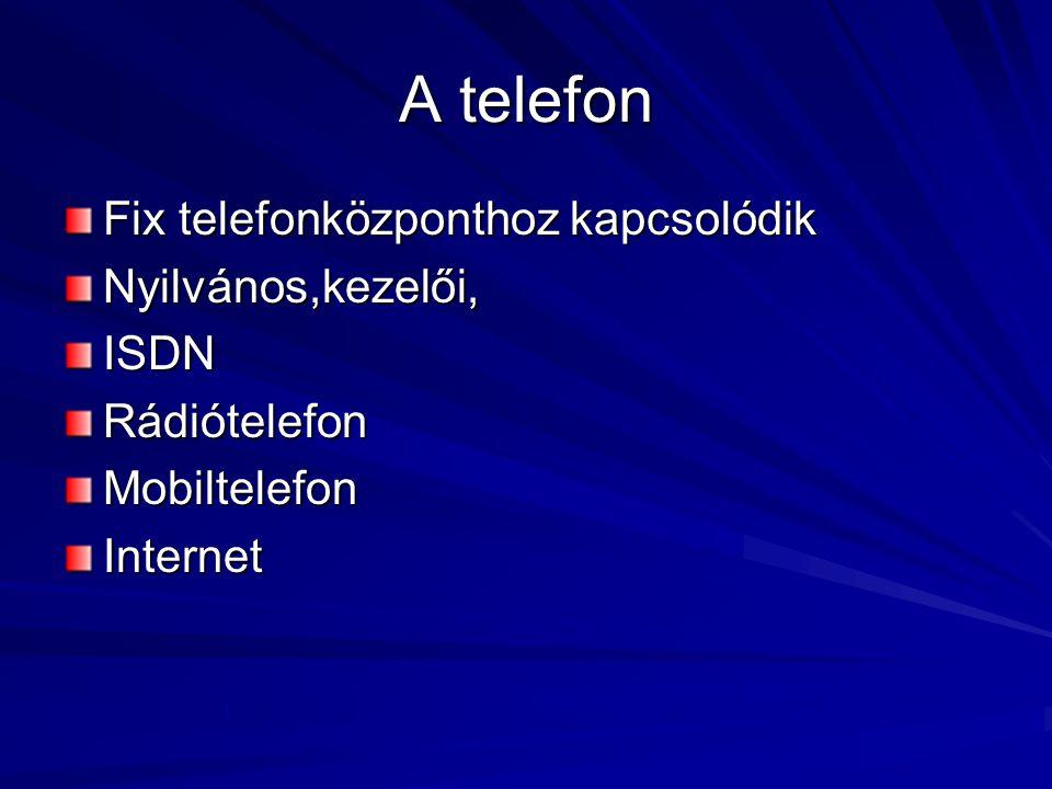 A telefon Fix telefonközponthoz kapcsolódik Nyilvános,kezelői, ISDN