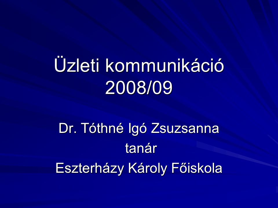 Dr. Tóthné Igó Zsuzsanna tanár Eszterházy Károly Főiskola