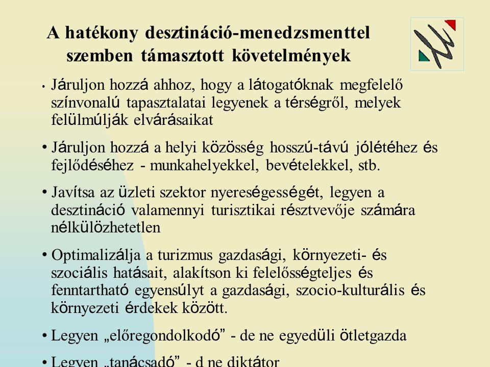 A hatékony desztináció-menedzsmenttel szemben támasztott követelmények