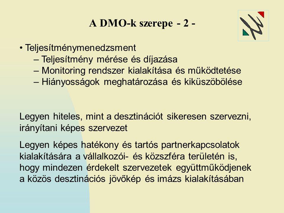 A DMO-k szerepe - 2 - • Teljesítménymenedzsment