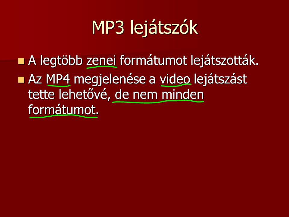 MP3 lejátszók A legtöbb zenei formátumot lejátszották.