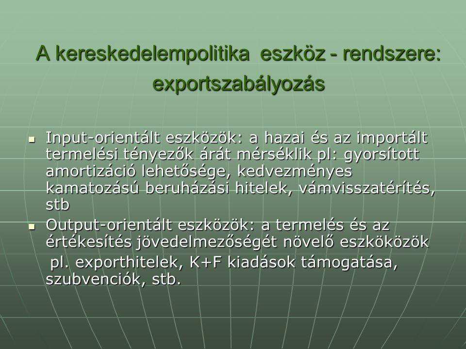 A kereskedelempolitika eszköz - rendszere: exportszabályozás