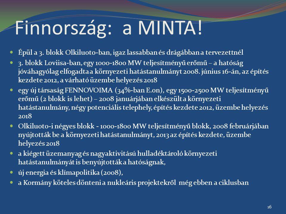Finnország: a MINTA! Épül a 3. blokk Olkiluoto-ban, igaz lassabban és drágábban a tervezettnél.