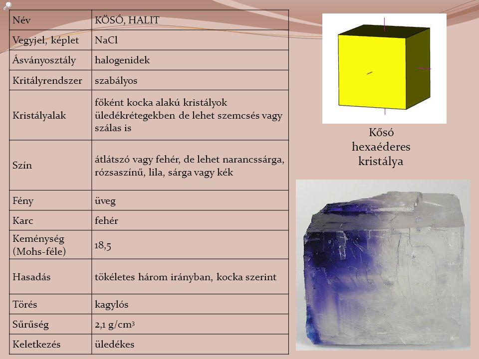 Kősó hexaéderes kristálya