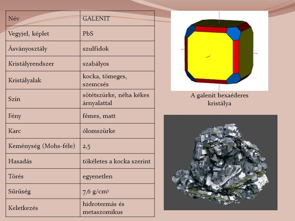 A galenit hexaéderes kristálya