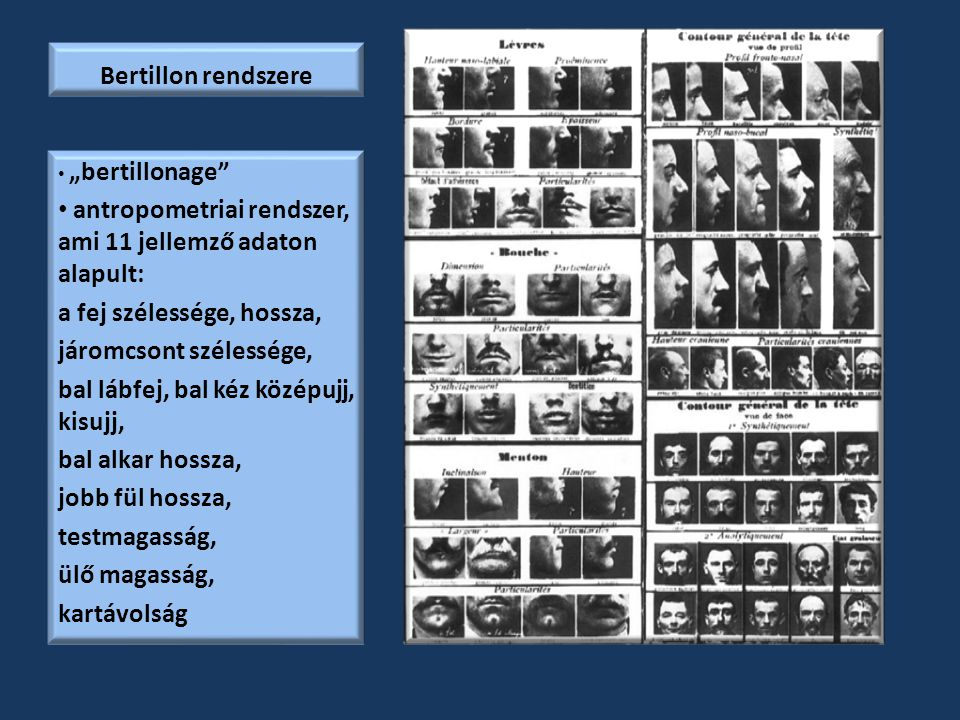 antropometriai rendszer, ami 11 jellemző adaton alapult: