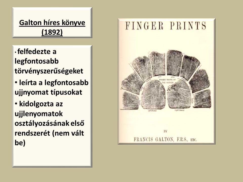 leírta a legfontosabb ujjnyomat típusokat