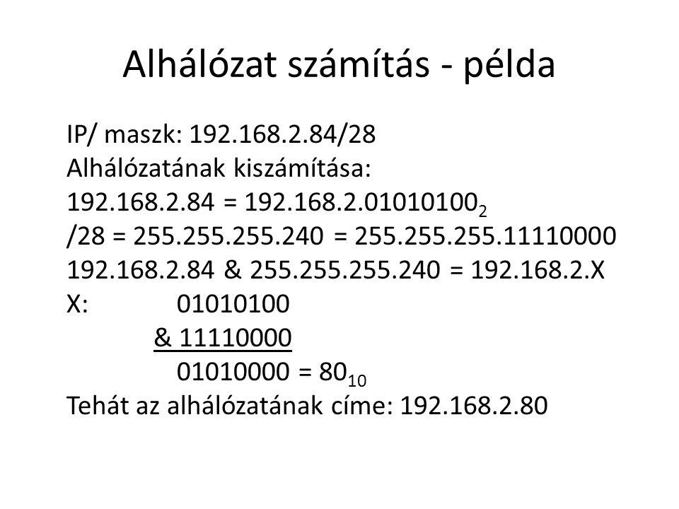 Alhálózat számítás - példa