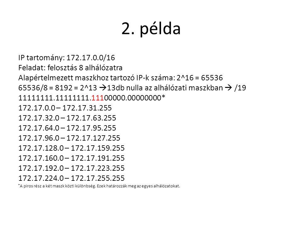 2. példa IP tartomány: 172.17.0.0/16 Feladat: felosztás 8 alhálózatra