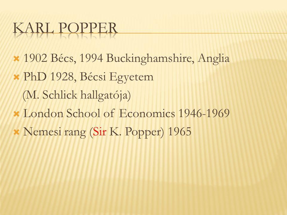 Karl Popper 1902 Bécs, 1994 Buckinghamshire, Anglia