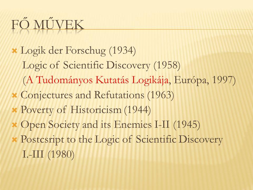 Fő művek Logik der Forschug (1934)