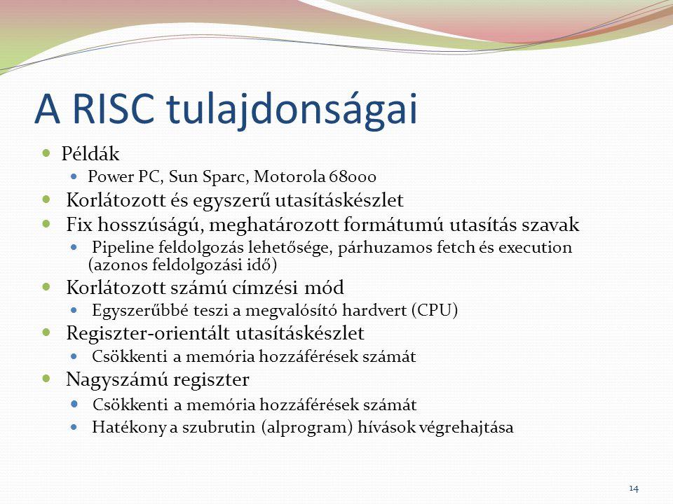 A RISC tulajdonságai Példák Korlátozott és egyszerű utasításkészlet