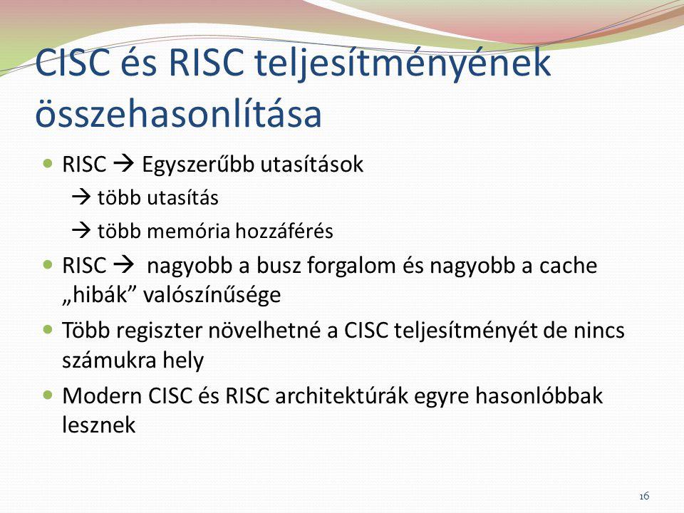 CISC és RISC teljesítményének összehasonlítása