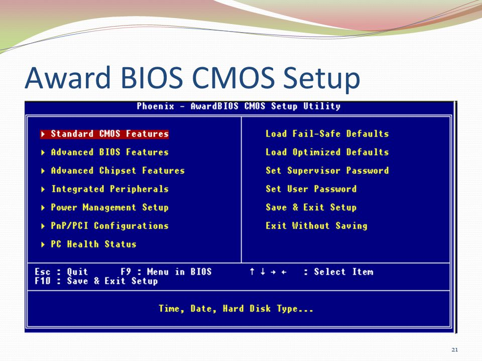 Award BIOS CMOS Setup