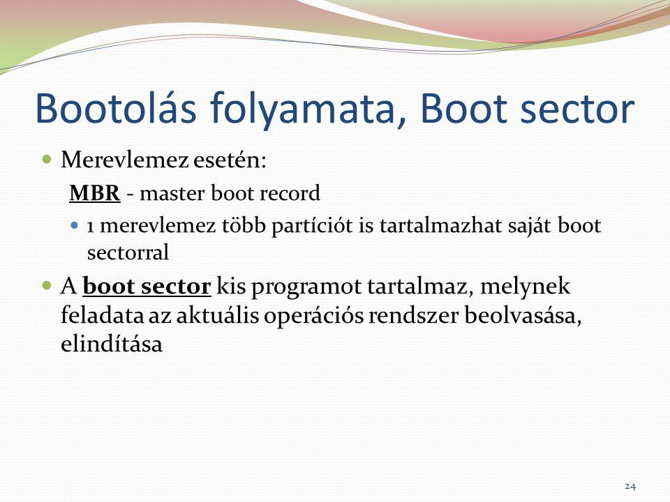 Bootolás folyamata, Boot sector