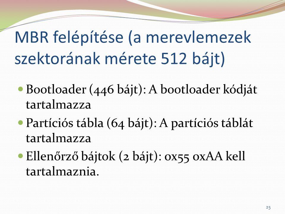 MBR felépítése (a merevlemezek szektorának mérete 512 bájt)