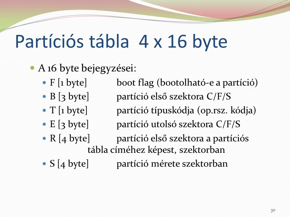 Partíciós tábla 4 x 16 byte A 16 byte bejegyzései: