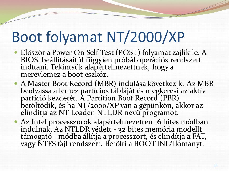 Boot folyamat NT/2000/XP