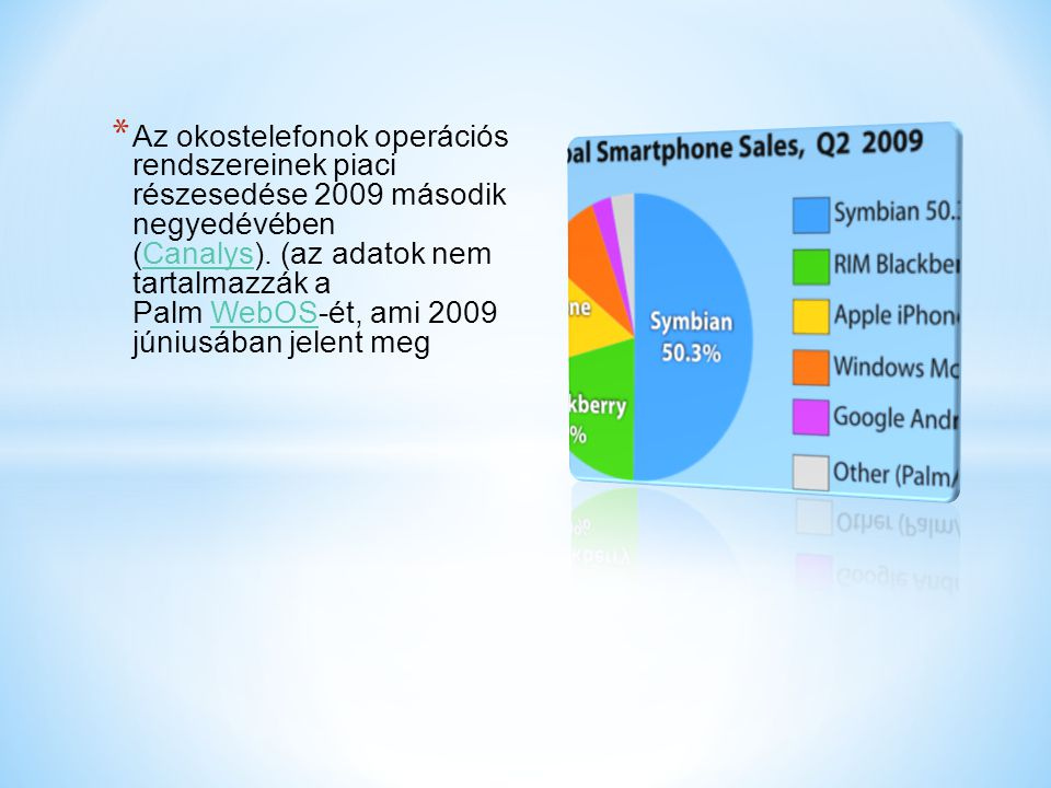 Az okostelefonok operációs rendszereinek piaci részesedése 2009 második negyedévében (Canalys). (az adatok nem tartalmazzák a Palm WebOS-ét, ami 2009 júniusában jelent meg
