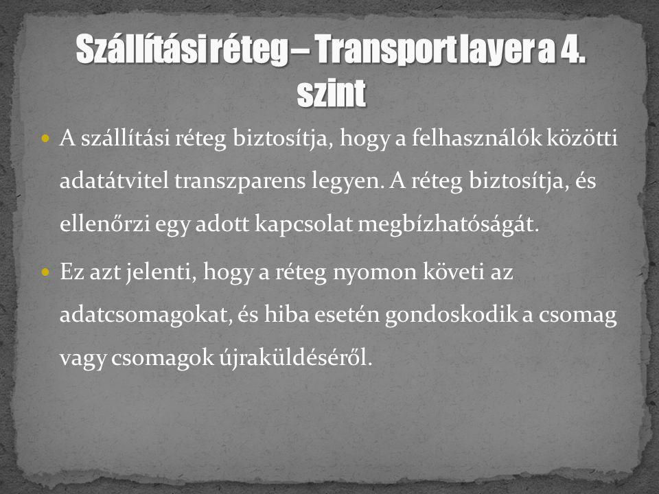 Szállítási réteg – Transport layer a 4. szint
