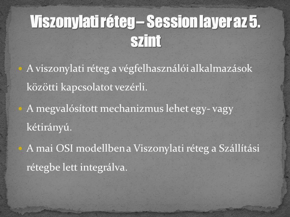 Viszonylati réteg – Session layer az 5. szint
