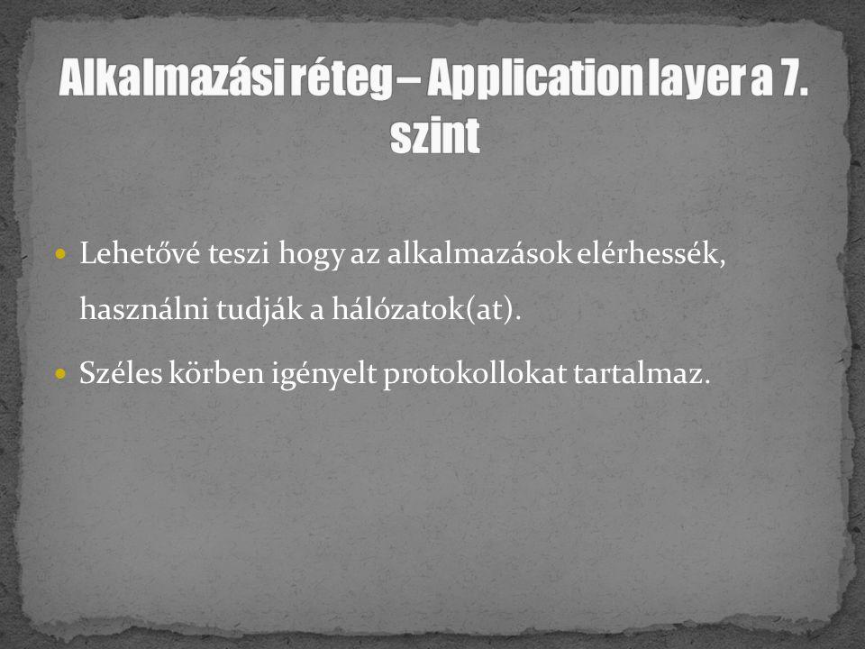Alkalmazási réteg – Application layer a 7. szint