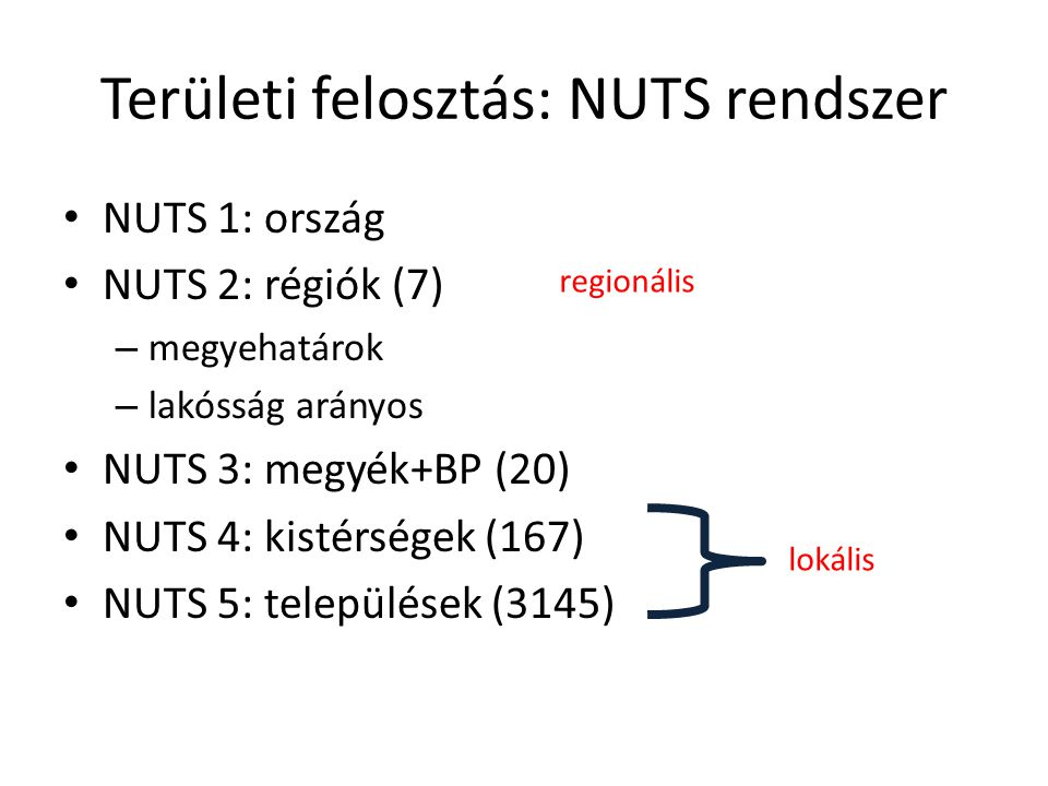 Területi felosztás: NUTS rendszer