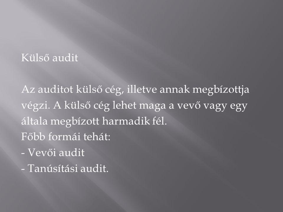 Külső audit Az auditot külső cég, illetve annak megbízottja. végzi. A külső cég lehet maga a vevő vagy egy.