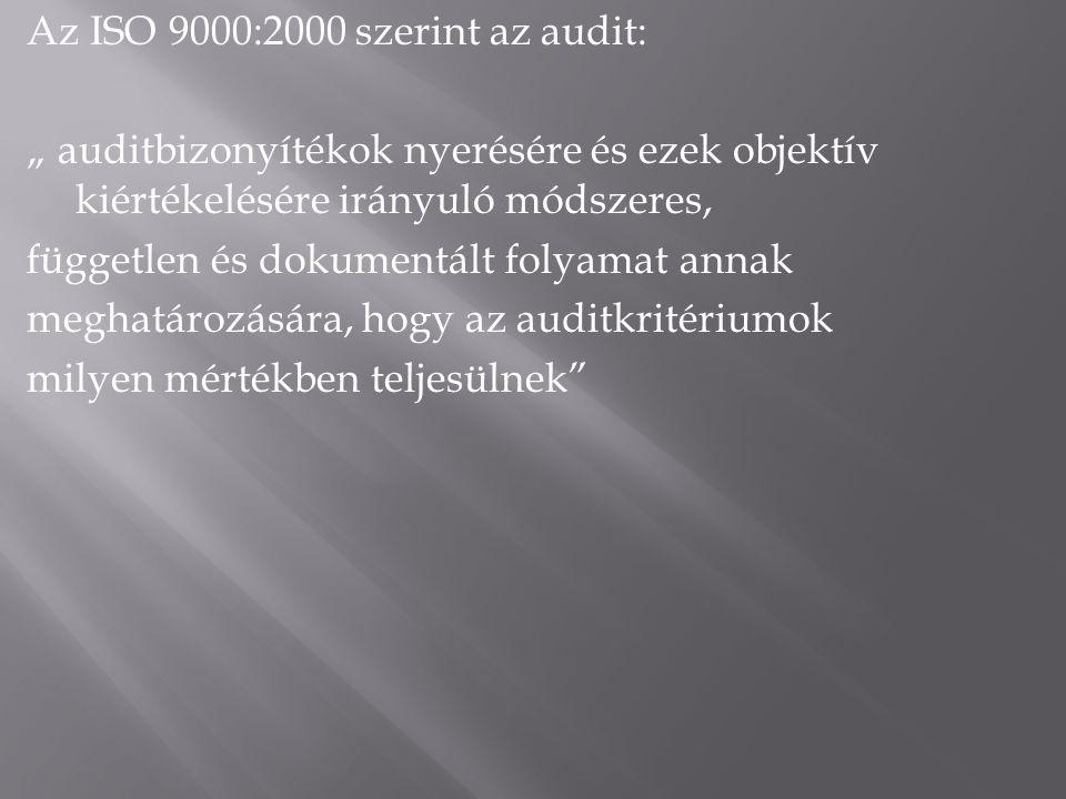 """Az ISO 9000:2000 szerint az audit: """" auditbizonyítékok nyerésére és ezek objektív kiértékelésére irányuló módszeres, független és dokumentált folyamat annak meghatározására, hogy az auditkritériumok milyen mértékben teljesülnek"""