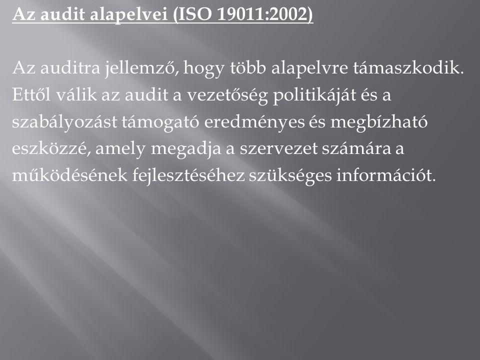 Az audit alapelvei (ISO 19011:2002) Az auditra jellemző, hogy több alapelvre támaszkodik.