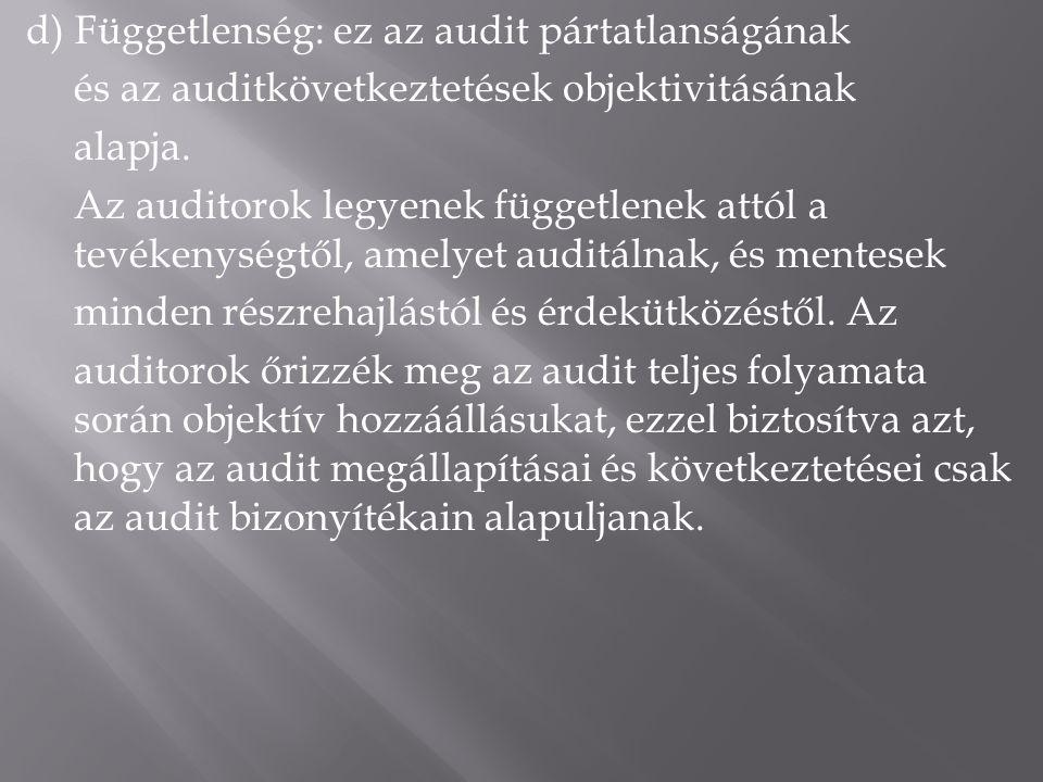 d) Függetlenség: ez az audit pártatlanságának és az auditkövetkeztetések objektivitásának alapja.