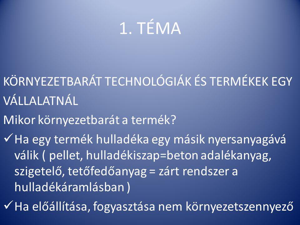 1. TÉMA KÖRNYEZETBARÁT TECHNOLÓGIÁK ÉS TERMÉKEK EGY VÁLLALATNÁL