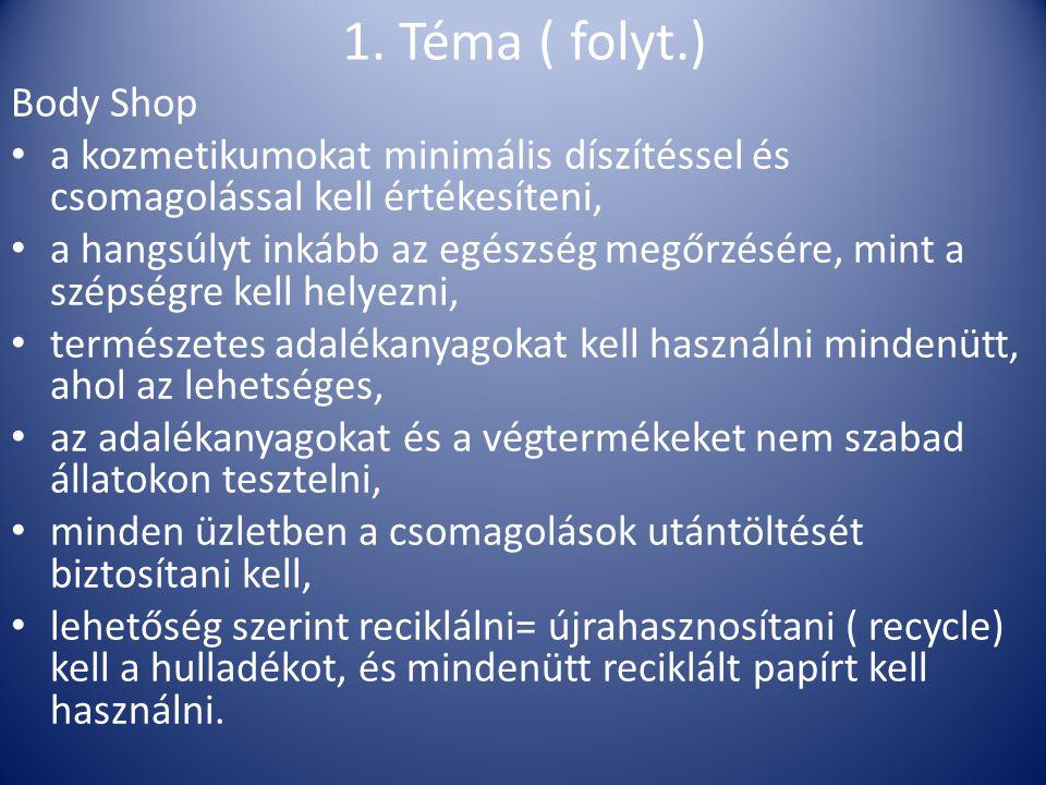 1. Téma ( folyt.) Body Shop. a kozmetikumokat minimális díszítéssel és csomagolással kell értékesíteni,