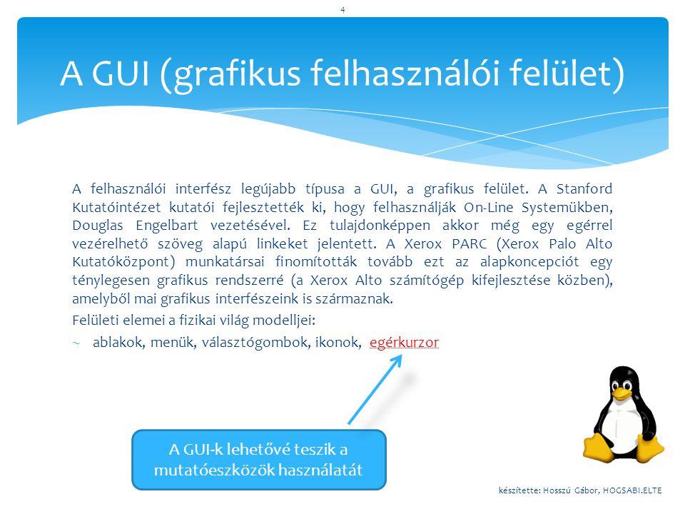 A GUI (grafikus felhasználói felület)