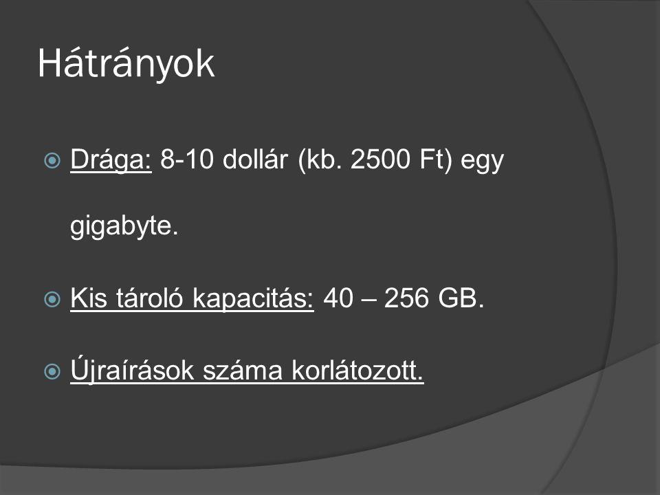 Hátrányok Drága: 8-10 dollár (kb. 2500 Ft) egy gigabyte.