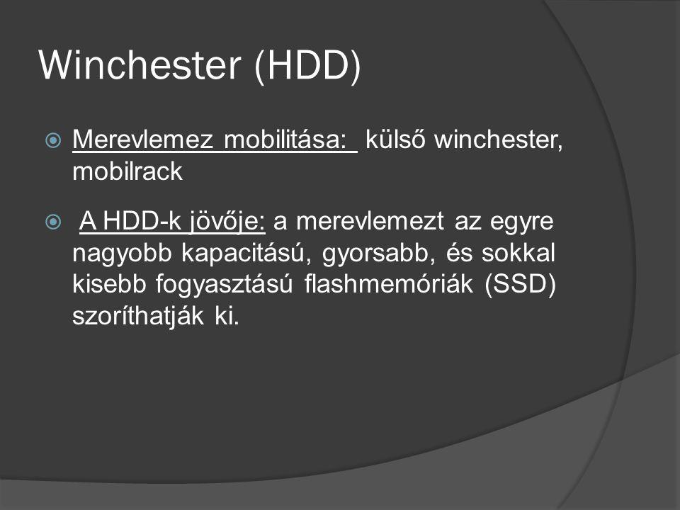 Winchester (HDD) Merevlemez mobilitása: külső winchester, mobilrack