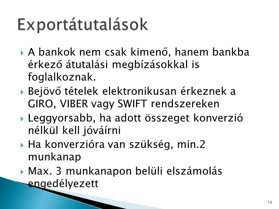 Exportátutalások A bankok nem csak kimenő, hanem bankba érkező átutalási megbízásokkal is foglalkoznak.