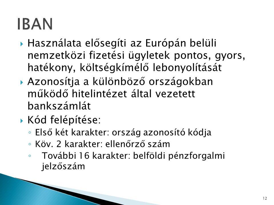 IBAN Használata elősegíti az Európán belüli nemzetközi fizetési ügyletek pontos, gyors, hatékony, költségkímélő lebonyolítását.