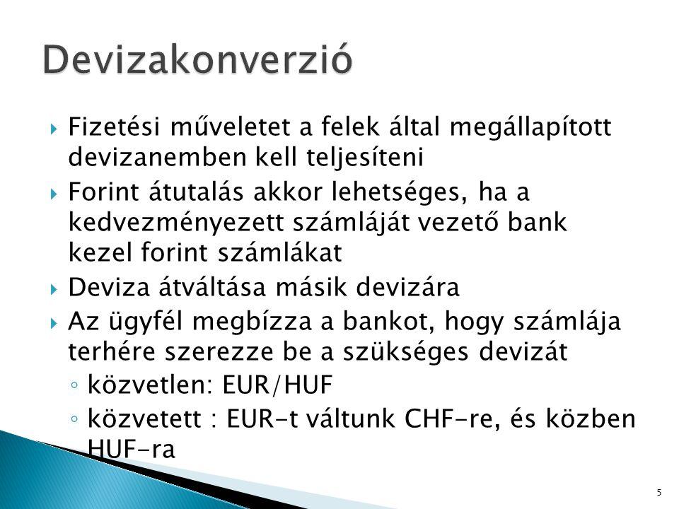 Devizakonverzió Fizetési műveletet a felek által megállapított devizanemben kell teljesíteni.