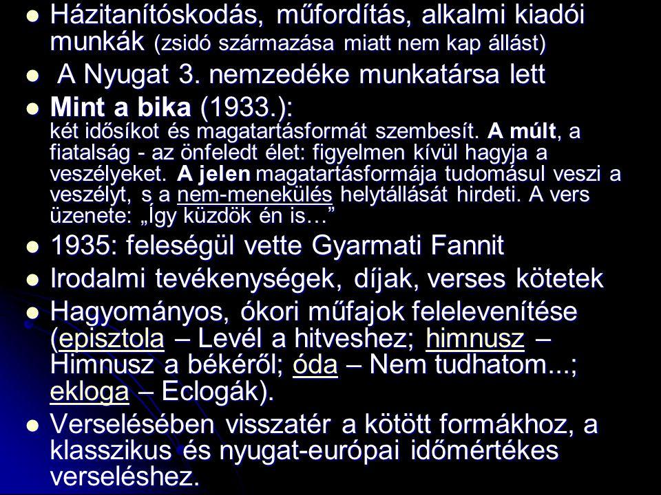 Házitanítóskodás, műfordítás, alkalmi kiadói munkák (zsidó származása miatt nem kap állást)