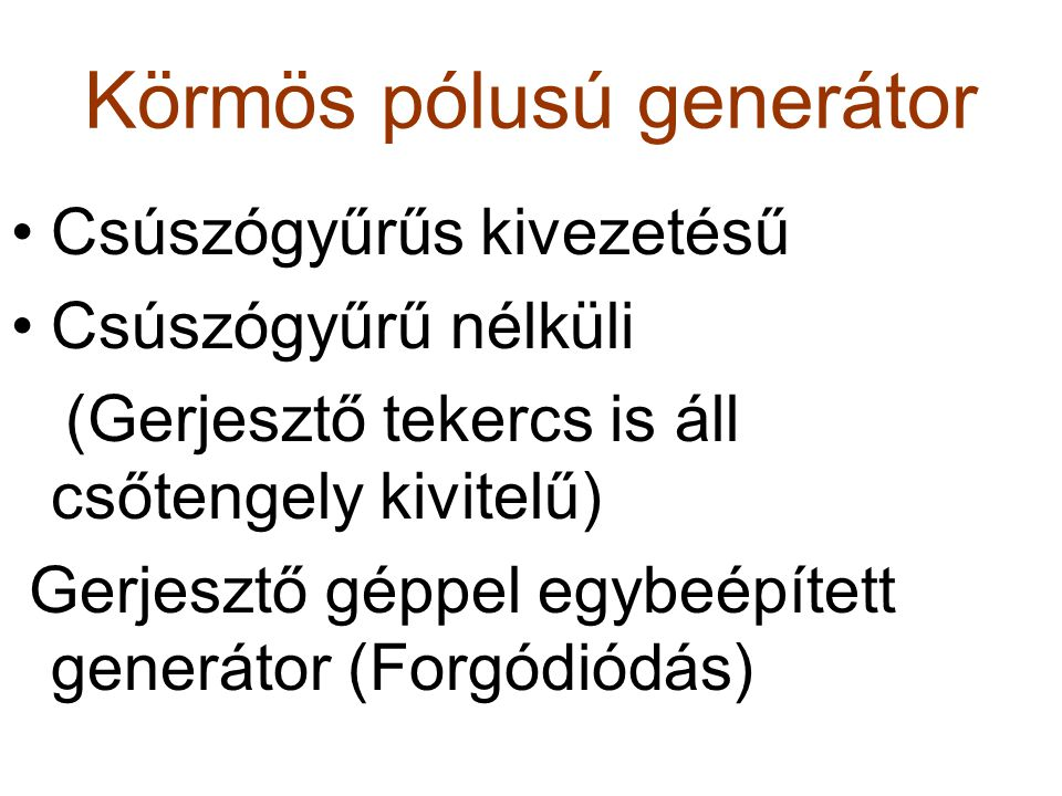 Körmös pólusú generátor