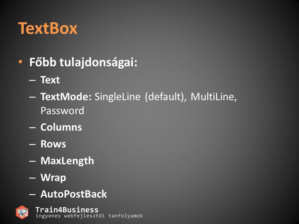 TextBox Főbb tulajdonságai: Text