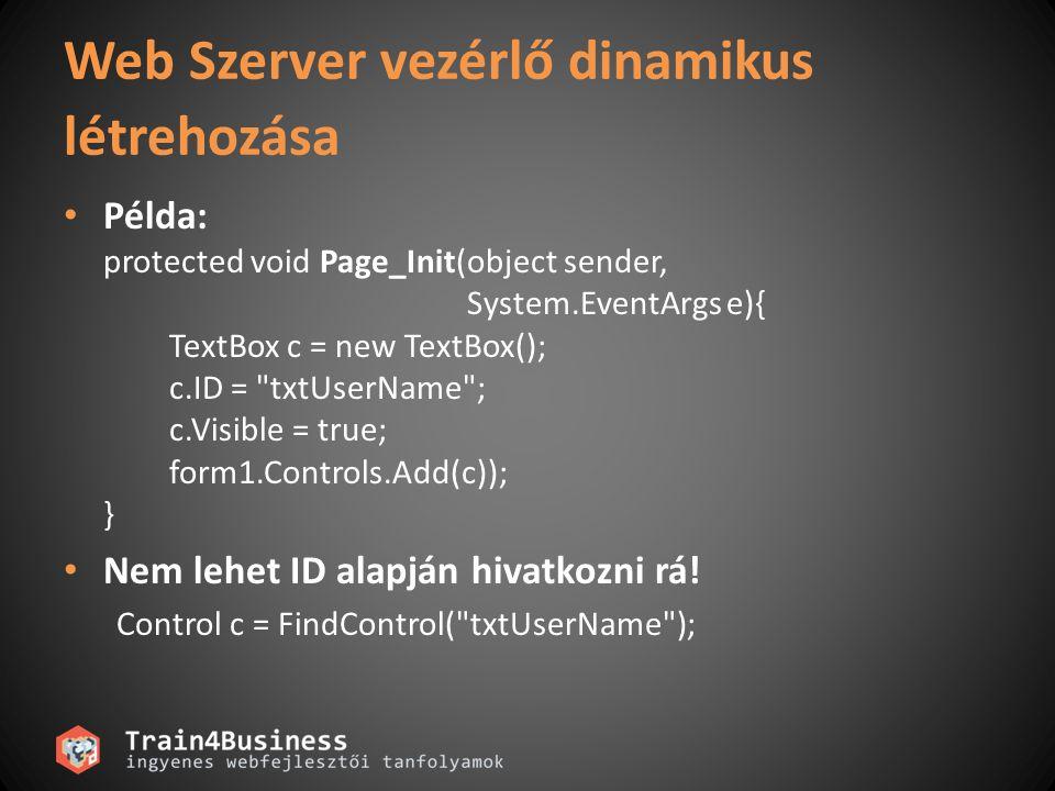 Web Szerver vezérlő dinamikus létrehozása