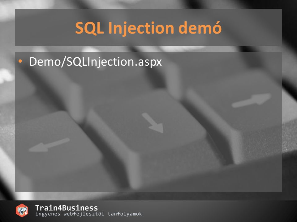SQL Injection demó Demo/SQLInjection.aspx