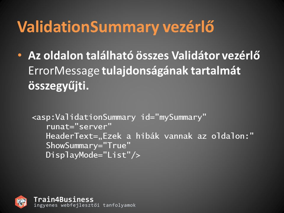 ValidationSummary vezérlő