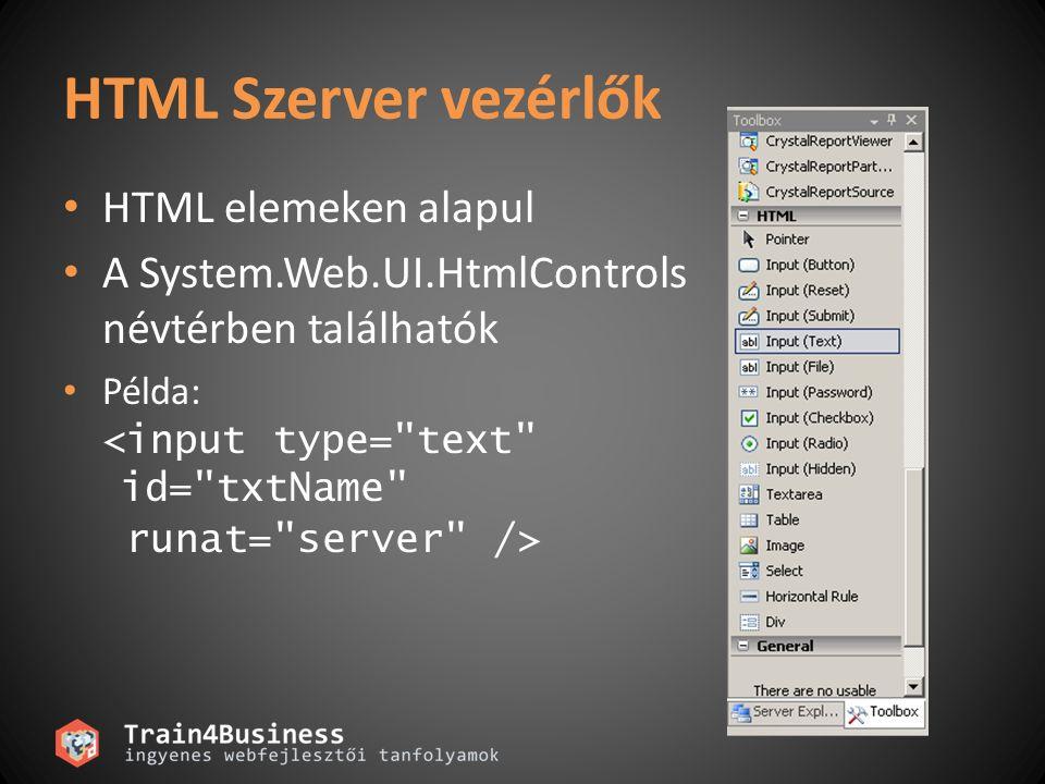 HTML Szerver vezérlők HTML elemeken alapul