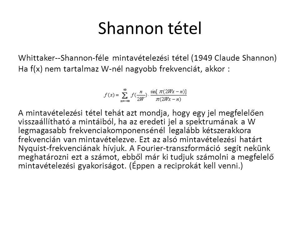 Shannon tétel Whittaker--Shannon-féle mintavételezési tétel (1949 Claude Shannon) Ha f(x) nem tartalmaz W-nél nagyobb frekvenciát, akkor :