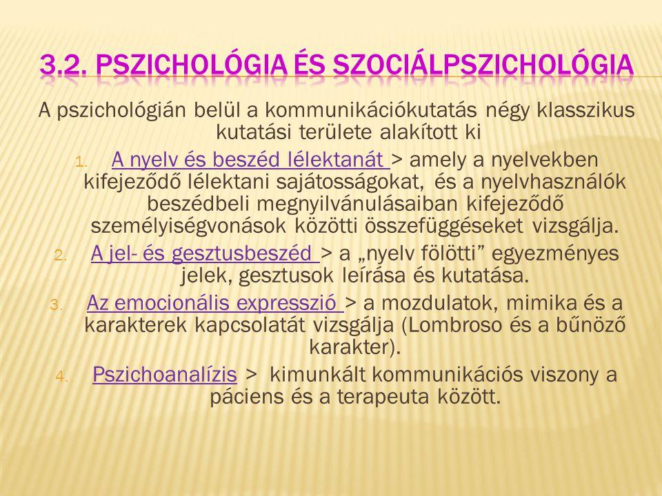 3.2. Pszichológia és szociálpszichológia