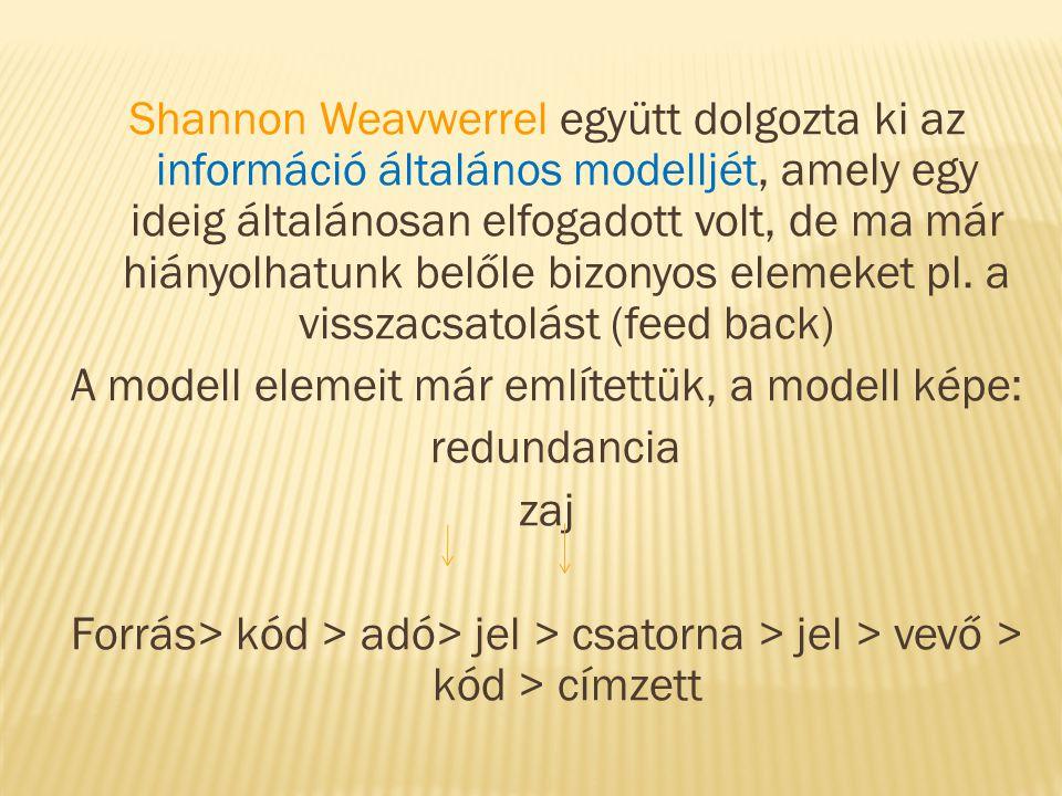 Shannon Weavwerrel együtt dolgozta ki az információ általános modelljét, amely egy ideig általánosan elfogadott volt, de ma már hiányolhatunk belőle bizonyos elemeket pl.